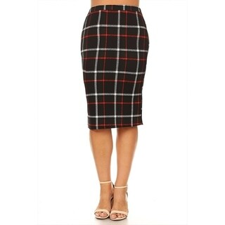 Women's Plus Size Black Red Plaid Pencil Skirt