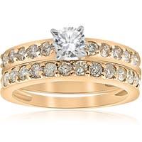Bliss 14k Yellow Gold 1 ct TDW Diamond Engagement Wedding Ring Bridal Set - White
