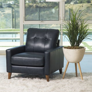 Abbyson Wright Mid Century Top Grain Leather Armchair