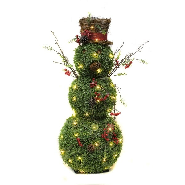 puleo international 36 inch lighted snowman topiary christmas decoration