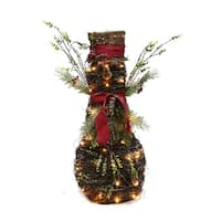 Puleo International 32 Inch Rattan Lighted Christmas Snowman  Decoration