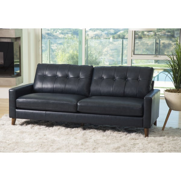 Shop Abbyson Wright Mid Century Top Grain Leather Sofa