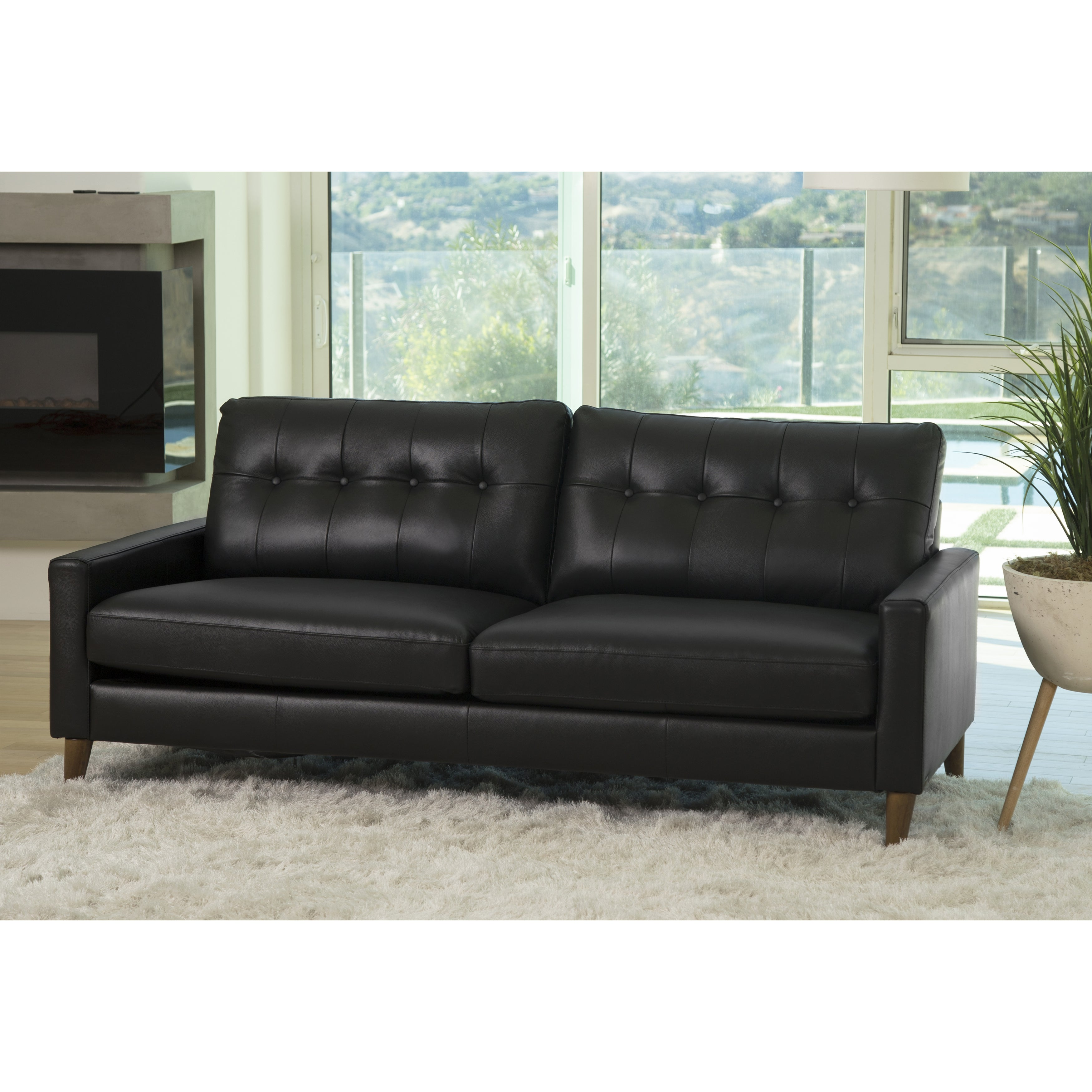 Abbyson Wright Mid Century Top Grain Leather Sofa Ebay