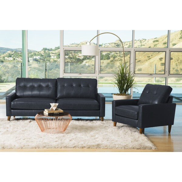shop abbyson wright mid century top grain leather 2 piece living room set on sale free. Black Bedroom Furniture Sets. Home Design Ideas