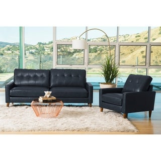 Abbyson Wright Mid Century Top Grain Leather 2 Piece Living Room Set