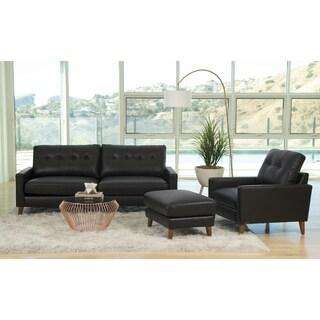 Abbyson Wright Mid Century Top Grain Leather 3 Piece Living Room Set