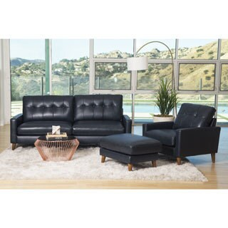 Abbyson Wright Mid Century Top Grain Leather 3 Piece Living Room Set