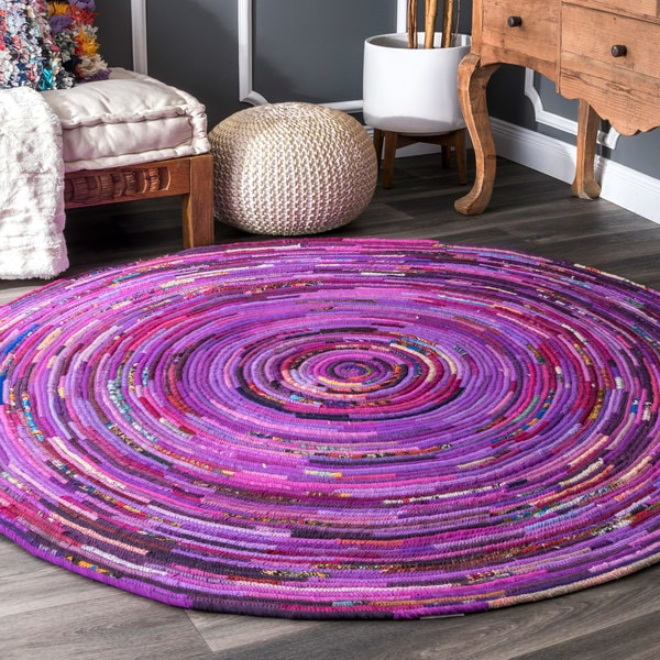 The Curated Nomad Anzavista Vivid Bohemian Purple Area Rug - 8' Round