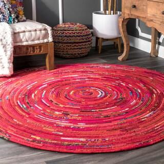 nuLoom Red Vivid Bohemian Circular Rug (6' Round)