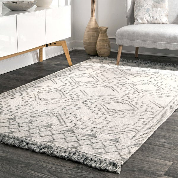 Shop Nuloom Diamond Chevron Ivory Grey Wool Southwestern