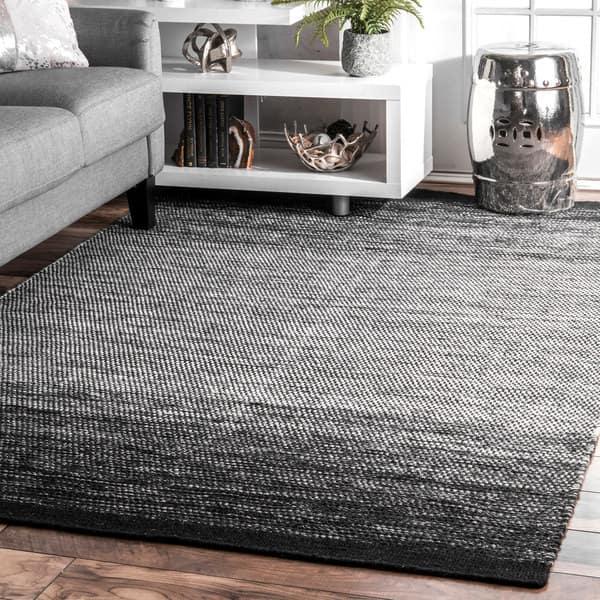 Nuloom Black White Ombre Pinstripe Wool Flatweave Area