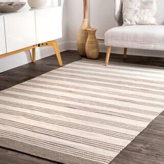 Nuloom Handmade Flatweave Cabana Stripes Wool Beige Rug 5