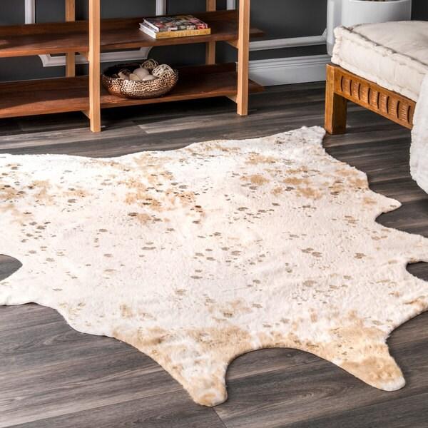shop nuloom contemporary faux animal prints cowhide rug 5 x 6 7