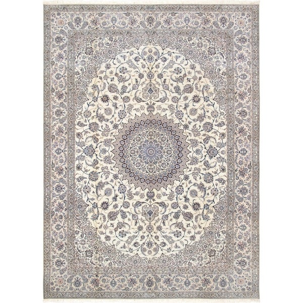 Persian Hand Knotted Nain Wool And Silk Area Rug Ebth: Shop Persian Nain Collection Hand-Knotted Ivory Silk