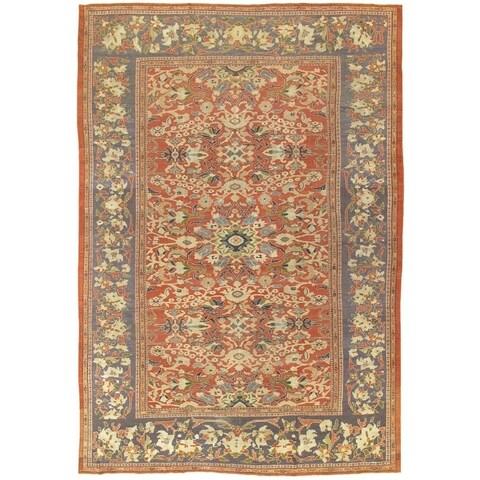 "Pasargad Antique Sultanabad Rust/Purple Wool Rug (10' 1"" X 14' 7"")"