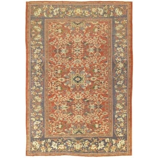 "Pasargad Antique Sultanabad Rust/Purple Wool Rug (10' 1"" X 14' 7"")"