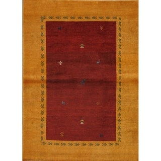 """Pasargad Gabbeh Red/Gold Collection Hand-Knotted Wool Rug (3' 5"""" X 4' 9"""")"""