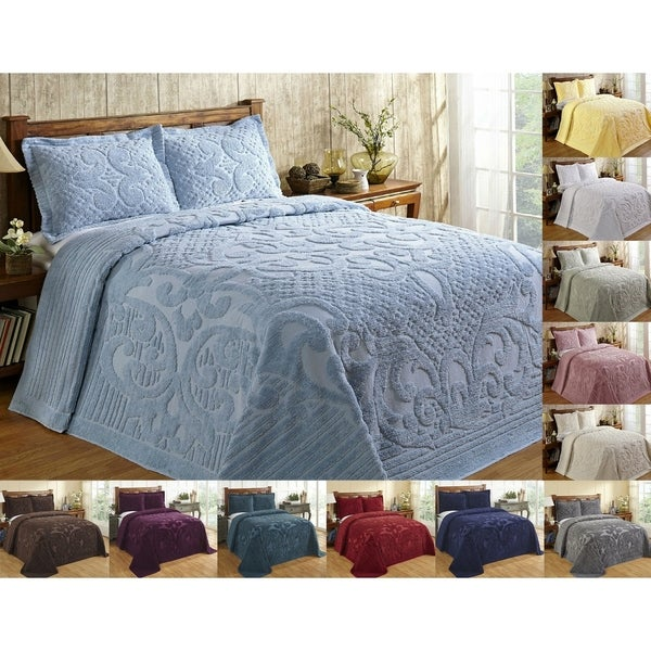 Better Trends Ashton Collection in Medallion Design 100% Cotton Tufted Chenille Bedspread or Sham Separates. Opens flyout.