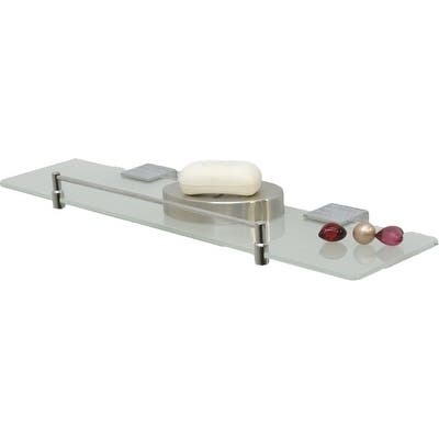 Evideco Wall Mounted Stainless Steel Frosted Glass Shelf, Chromed Finish Rail