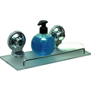 Evideco Wall Frosted Shelf with 2 Screw-Top Suction Cups Chrome