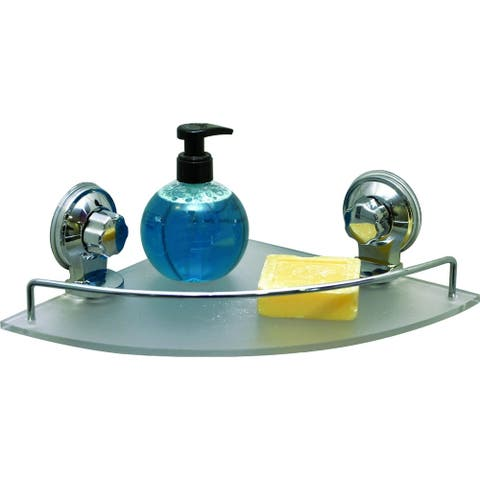Evideco Wall Corner Frosted Shelf with 2 Screw-Top Suction Cups Chrome