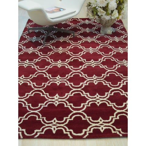Hand-tufted Wool Red Traditional Trellis Moroccan Rug - 5' x 8'