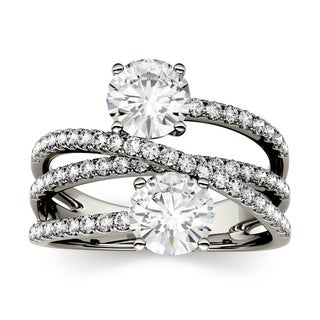 Charles & Colvard 14k White Gold 2ct DEW Forever Brilliant Moissanite Two-Stone Bypass Fashion Ring