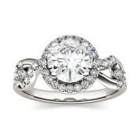 Charles & Colvard 14k White Gold 1 2/5ct DEW Forever Brilliant Moissanite Halo Engagement Ring