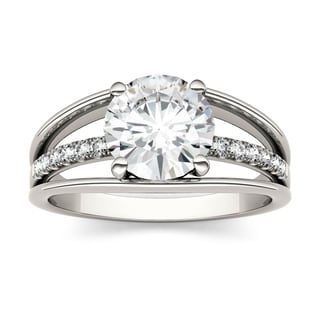 Charles & Colvard 14k White Gold 2ct DEW Forever Brilliant Moissanite Three Row Solitaire with Side Accents