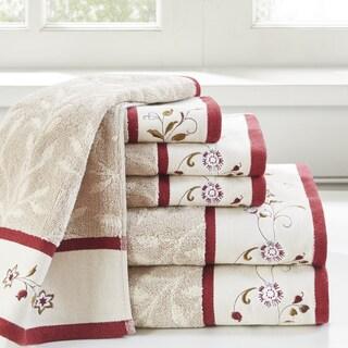Madison Park Belle Red Embroidered Cotton Jacquard 6-piece Towel Set 2-Color Option