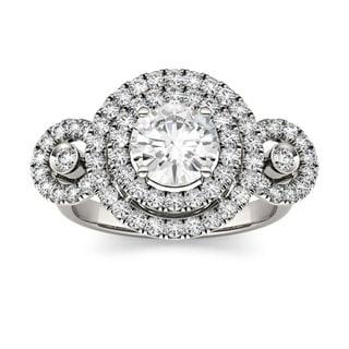 Charles & Colvard 14k White Gold 1 3/5ct DEW Forever Brilliant Moissanite Double Halo Ring