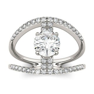 Charles & Colvard 14k White Gold 1 2/5ct DEW Forever Brilliant Moissanite Open Buckle Ring