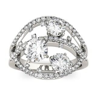 Charles & Colvard 14k White Gold 2 1/2ct DEW Forever Brilliant Moissanite Floral Fashion Ring