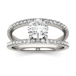Charles & Colvard 14k White Gold 1 1/5ct DEW Forever Brilliant Moissanite Open Geometric Fashion Ring