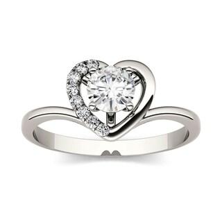 Charles & Colvard 14k White Gold 3/5ct DEW Forever Brilliant Moissanite Heart Halo Ring