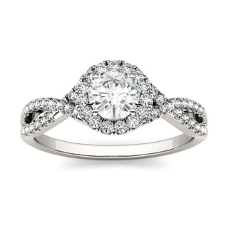 Charles & Colvard 14k White Gold 1ct DEW Forever Brilliant Moissanite Halo Engagement Ring