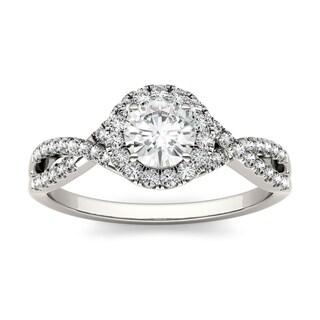Charles & Colvard 14k White Gold 1ct DEW Forever Brilliant Moissanite Halo Engagement Ring