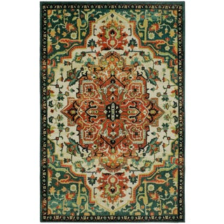 Gracewood Hollow Pirandello Distressed Traditional Teal Area Rug - 8' x 10'