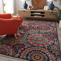 Copper Grove Dehiwala Stained Glass Pattern Medallion Area Rug - 8' x 10'