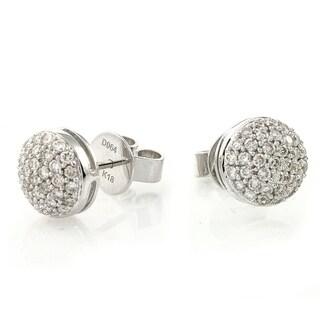 14k White Gold 3/4 Carat Composite Stud Earrings