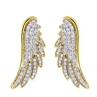 14k Yellow Gold 1 Carat Angel Wing Climber Earrings - White