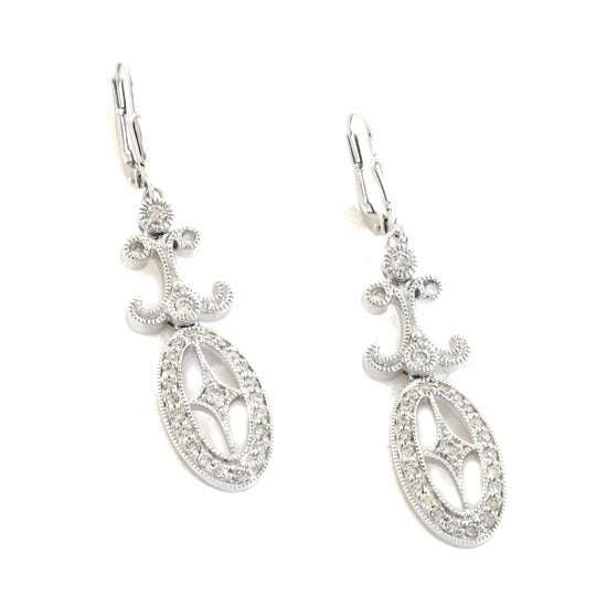 125690ba62 Shop 14k White Gold 2 3 Carat Vintage Inspired Hoop Earrings - On Sale -  Free Shipping Today - Overstock - 18121738