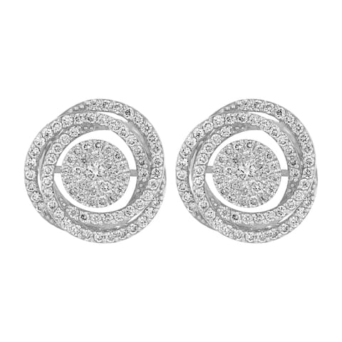 14k White Gold 1.4 Carat Swirling Stud Earrings
