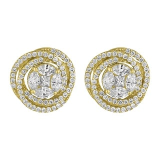 14k Yellow Gold 2.45 Carat Swirling Stud Earrings - White