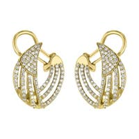 14k Yellow Gold 1 Carat Diamond Inside-Out Earrings in - White