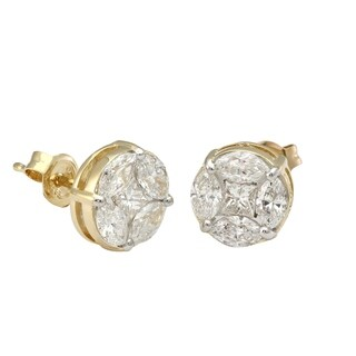 14k Yellow Gold 1.55 Carat Princess and Marquise Diamond Stud Earrings - White