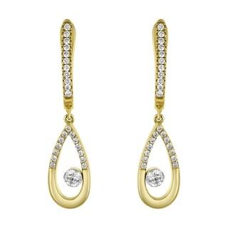 14k Yellow Gold Oval Floating Diamond Hoop Earrings - White