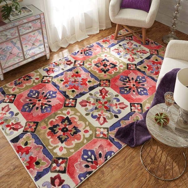 Copper Grove Socotra Painted Tile MultiColor Moroccan Area Rug