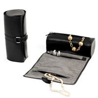 Black Leather Jewelry Roll