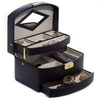 Black Leather Jewelry Case